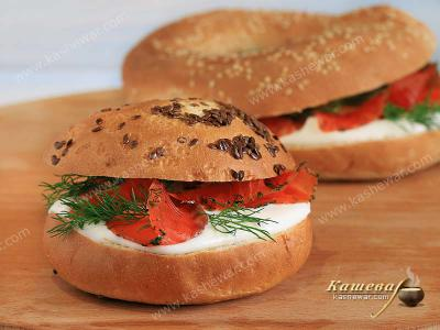 Buns with Salmon and Cream Cheese