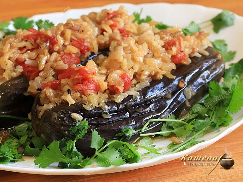 Eggplant with rice and tomatoes – recipe with photo, Georgian cuisine