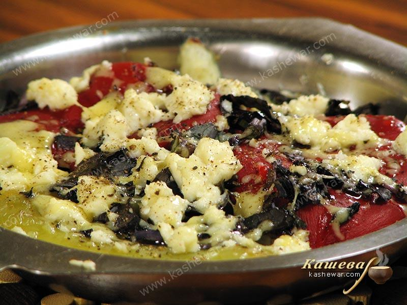 Peppers gratin with feta and basil from Gordon Ramsay