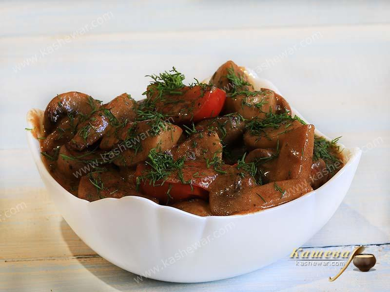 Stewed mushrooms with tomatoes – recipe with photo, Ukrainian cuisine