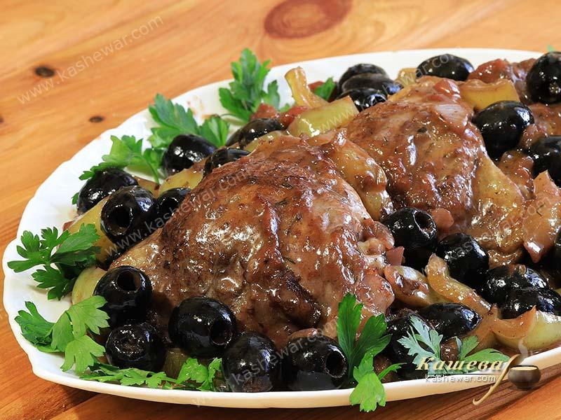 Chicken with olives and peppers – recipe with photo, Greek cuisine