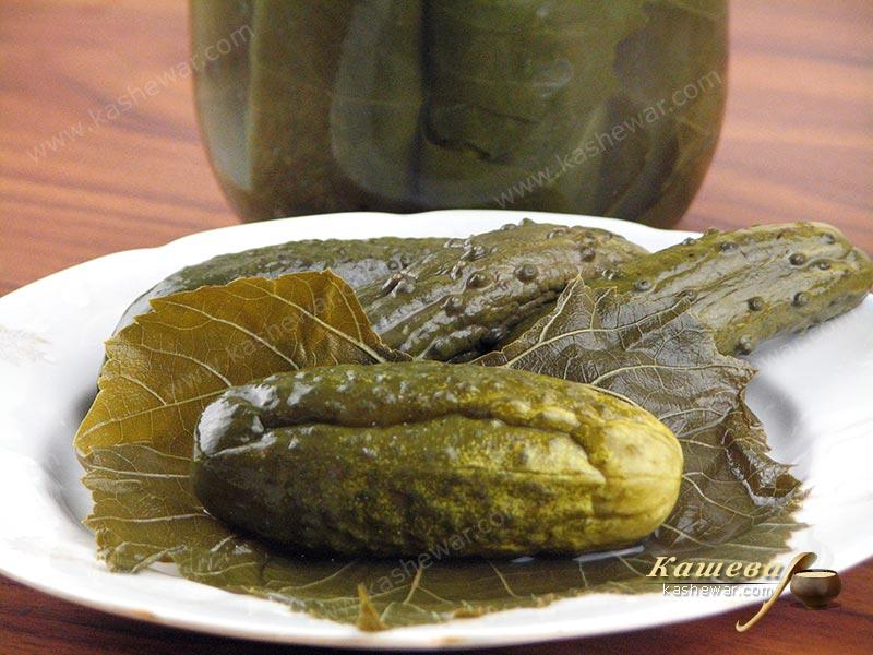 Cucumbers in grape leaves – recipe with photo, food preservation for the winter