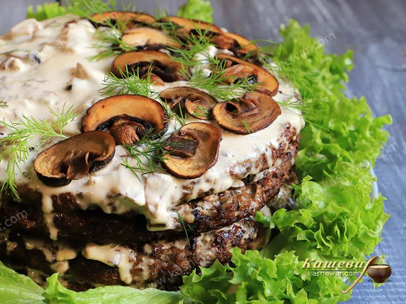 Liver pie with mushroom sauce – recipe with photo, main courses