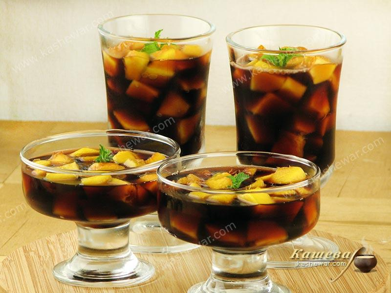 Peaches in red wine jelly – recipe with photo, Italian cuisine