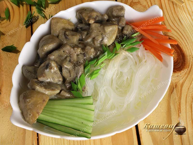 Soy noodles with mushroom sauce – recipe with photo, Chinese cuisine