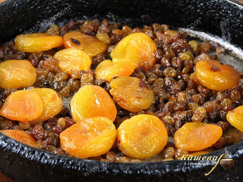 Fry raisins and dried apricots in butter