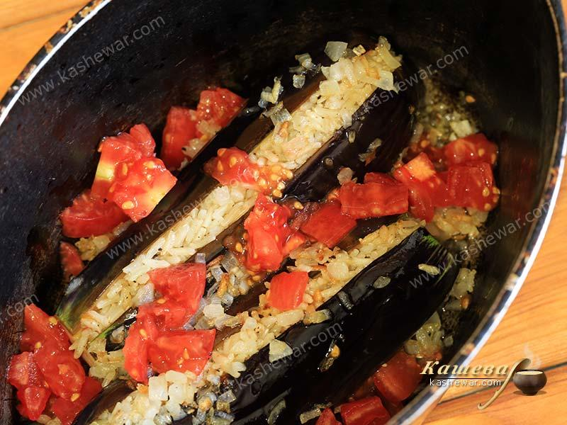 Eggplant with rice and tomatoes
