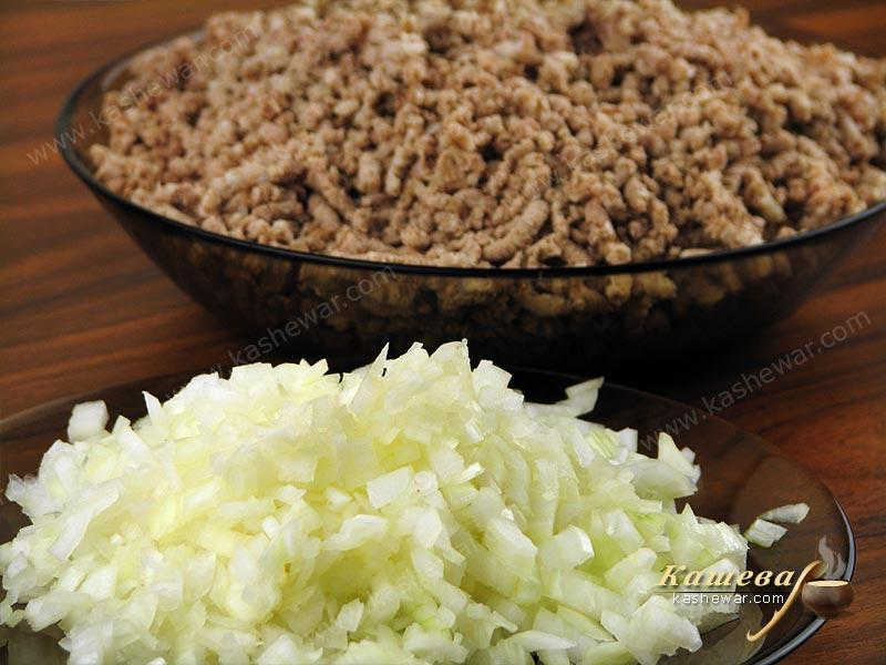 Boil and grind meat, finely chop onion