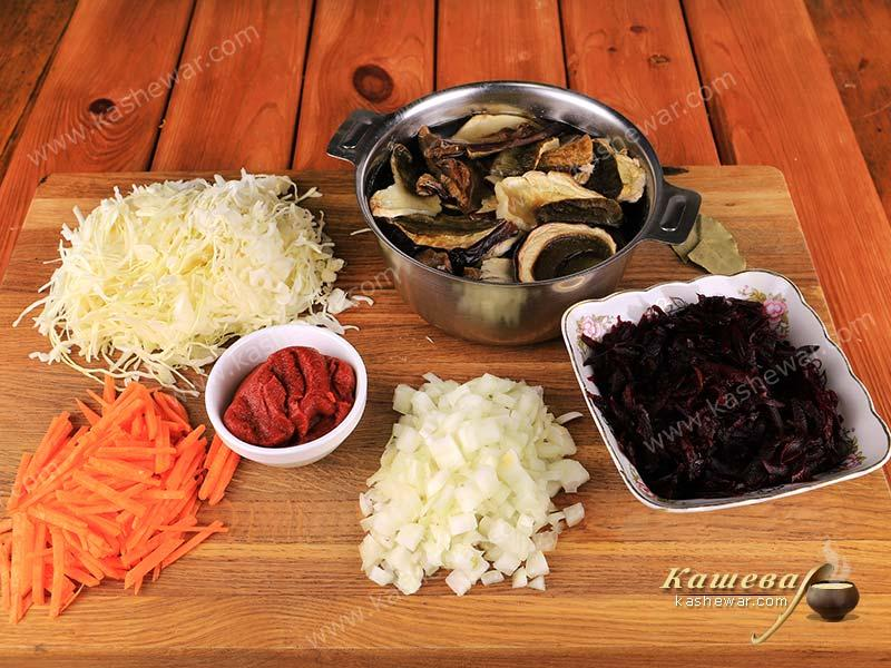 Preparation of products for borsch with white dried mushrooms