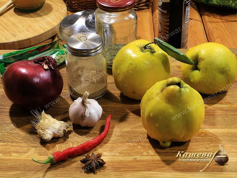 Quince chutney ingredients