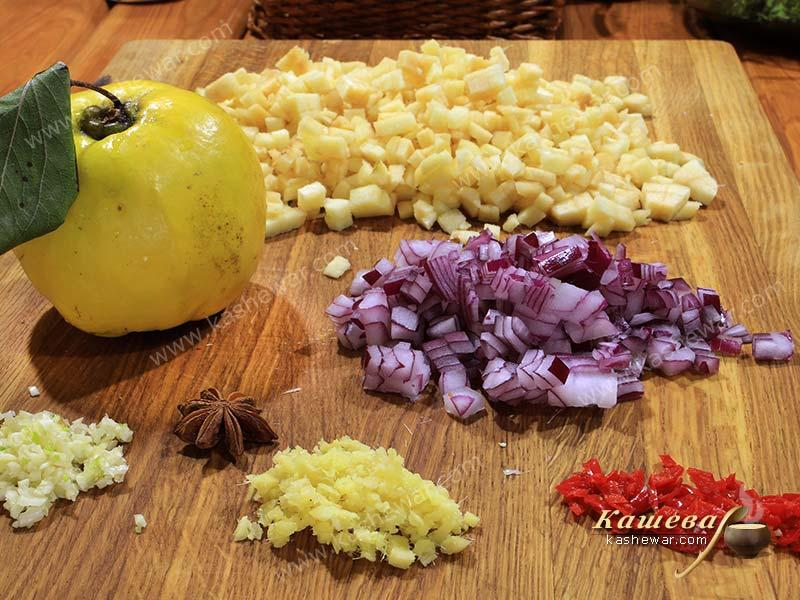 Finely chopped vegetables for chutney