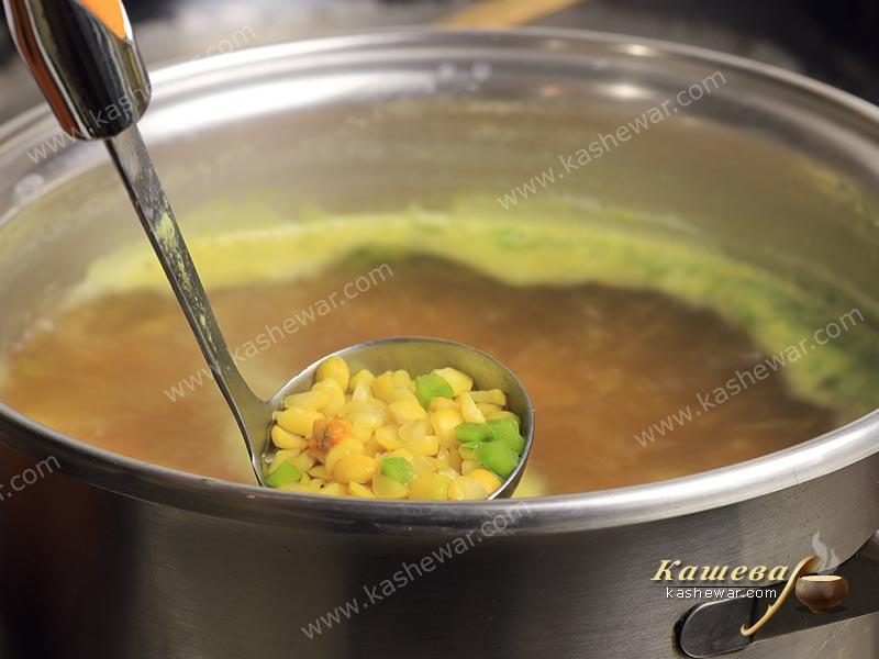 Vegetables and peas in soup