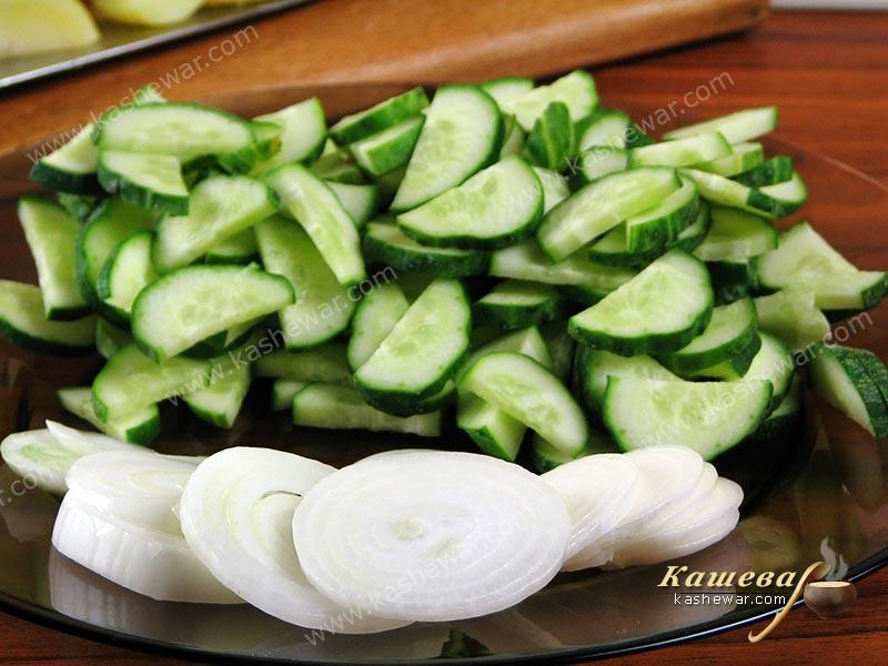 Chopped onions and cucumbers