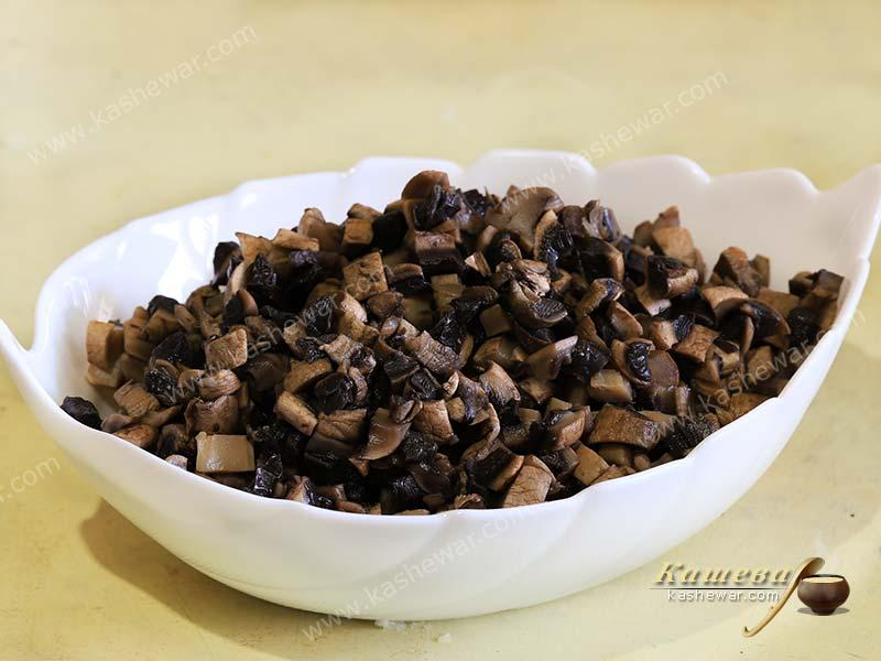 Mushrooms, finely chopped