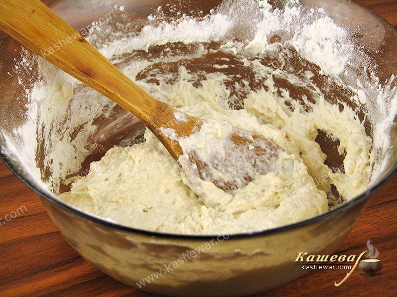 Flour mixed with butter and hot water