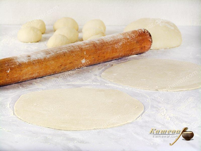 Roll pancakes with rolling pin