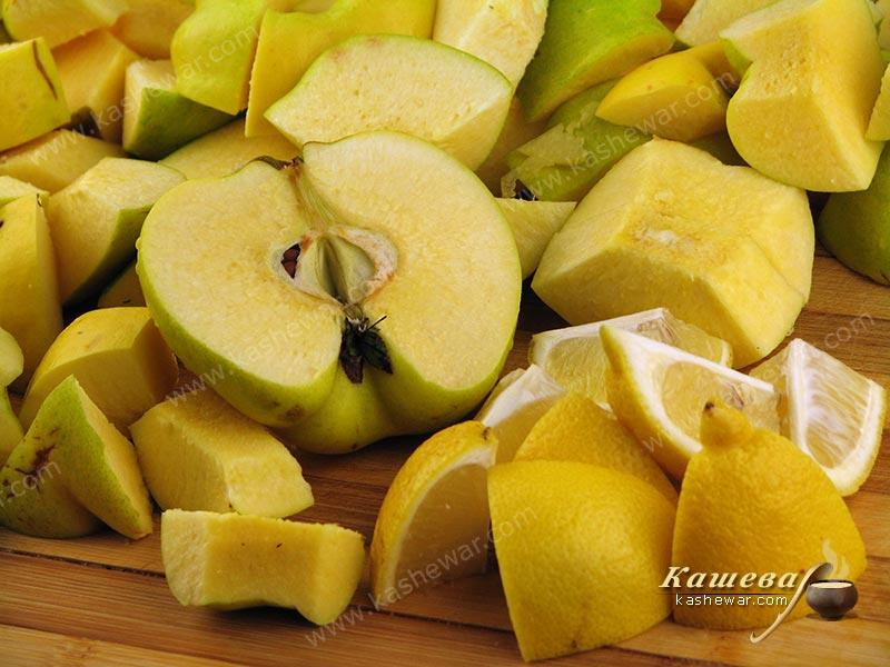 Peel and cut quinces