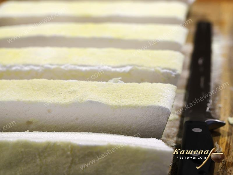 Marshmallow cut into strips