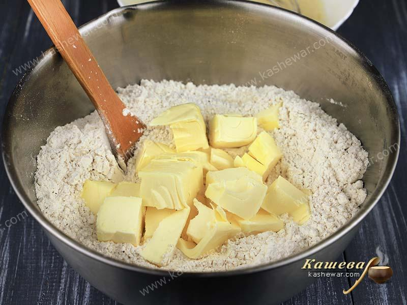 Flour and diced butter