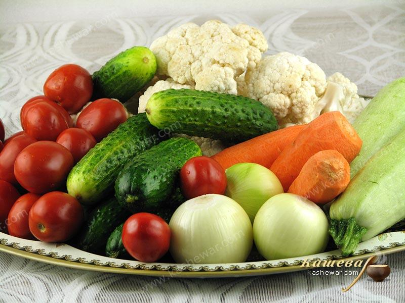 Prepared vegetables for the garden mix