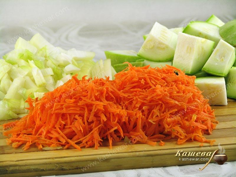 Grated carrots, chopped onions and zucchini