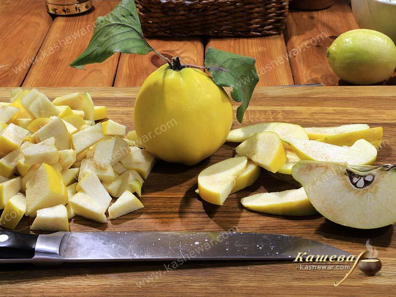 Quince cut for pie