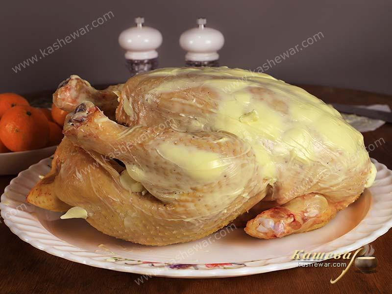 Turkey spread with butter