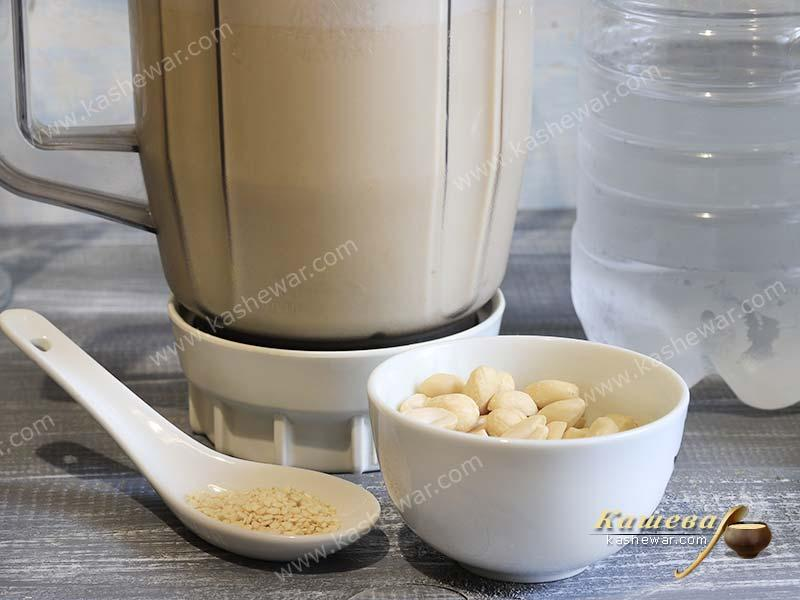 Soy milk in a blender
