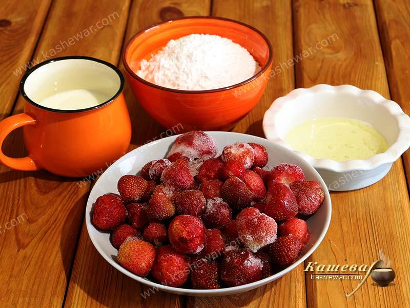 Preparation of ingredients for the preparation of strawberry sorbet