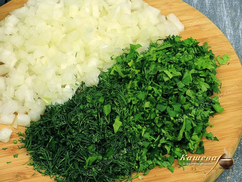 Finely chopped onion and greens
