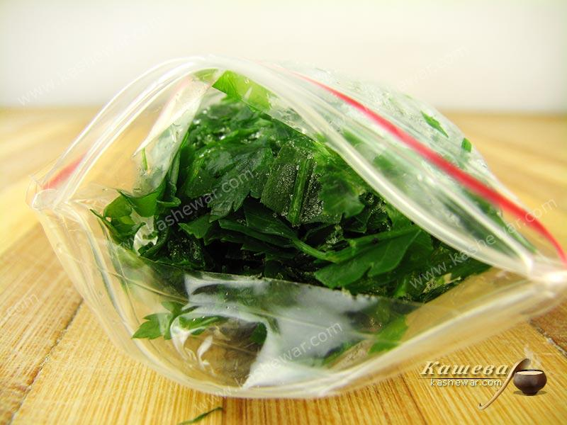 Frozen parsley – recipe with photo, food preservation for the winter