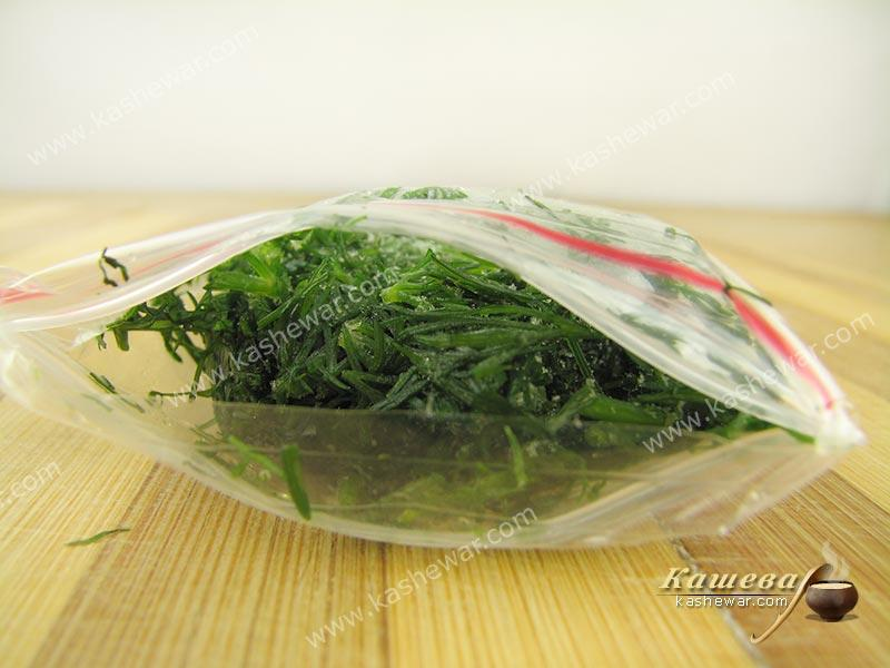Frozen dill – recipe with photo, food preservation for the winter